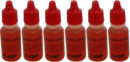 6 Bottles Silver Test Acid Testing Sterling Jewelry Solution Liquid Metal Tester