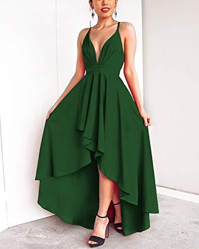 Pizzo Lunghi Elegante V Vestiti Collo Formale Sera Abravo Donna Abito Vestito Banchetto Da Matrimonio Verde qYAnIzw
