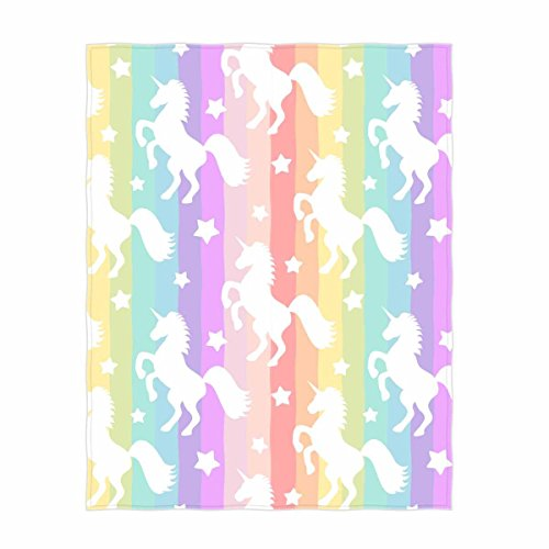 58 x 80 Inch Rainbow Unicorn Pattern Super Soft Throw Blanket for Bed Couch Sofa Lightweight Travelling Camping Throw Size for Kids Adults All Season