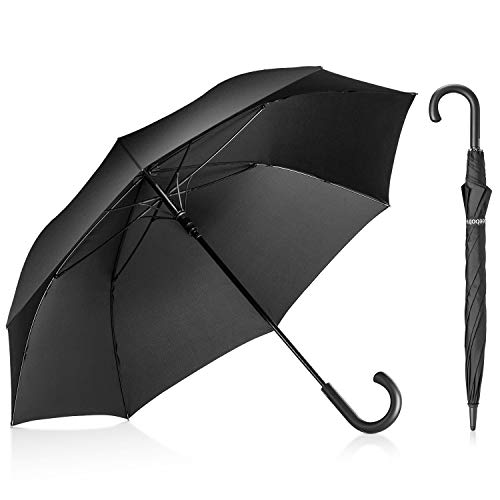 - Leebotree Stick Umbrella, Auto Open Windproof Umbrella with 51 Inch Large Canopy Waterproof and J Handle for Men Women (Black)