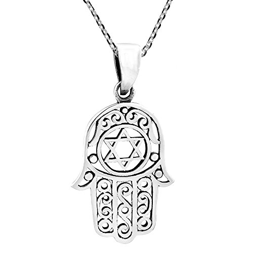 AeraVida Hamsa or Hand of God with The Star of David .925 Sterling Silver Pendant Necklace