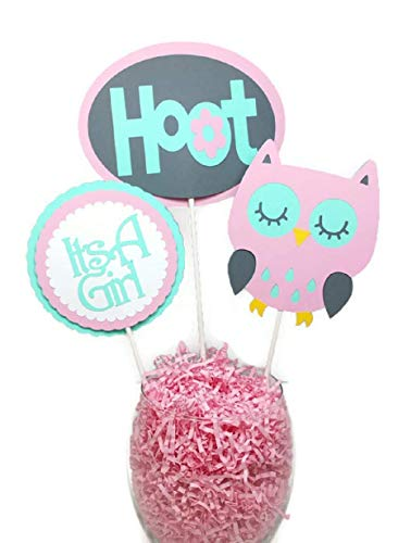 Its A Girl Hoot Owl Centerpiece Sticks Pink Gray & Mint Green Owl Cake Toppers Baby Shower Party Decorations Owl Centerpieces ()