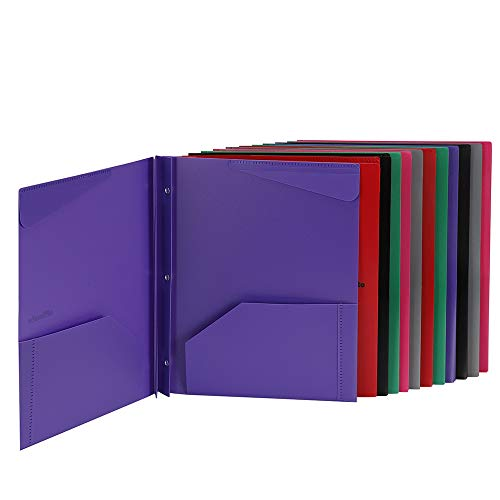 Folders, Plastic Folders with Pockets and Prongs, Heavy Duty Folders with Brads, 12Pack by Rolandal (Image #1)'