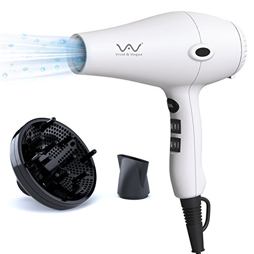 VAV Negative Ionic Hair Dryer Professional Hair Blow Dryer, 1875W 2.5 Large Air Volume Fast Dryer, 2 Speed 3 Heat Settings Powerful Lightweight Dryer With Diffuser & Concentrator