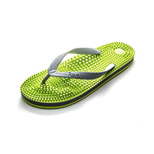 Revs Premium Reflexology Massage & Acupressure Flip Flops in Green and Grey for Men and Women. Vegan. Wear to Boost Health, Blood Flow, Circulation, Energy, Recovery.