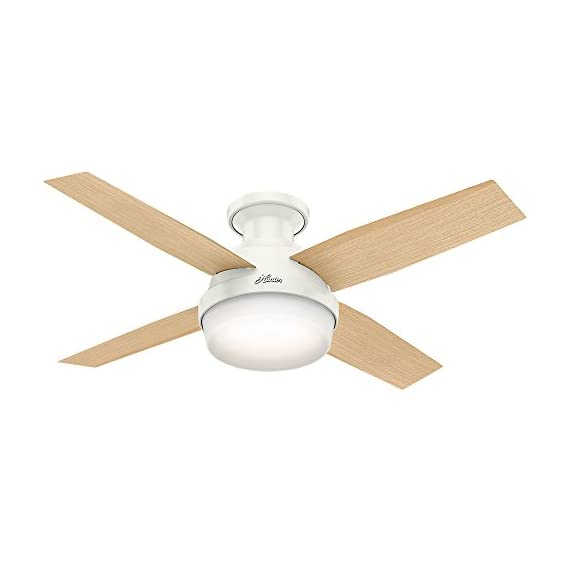 Hunter 59244 Dempsey Low Profile Fresh White Ceiling Fan With Light & Remote, 44 Inch 3 WhisperWind motor delivers ultra-powerful air movement with whisper-quiet performance so you get the cooling power you want without the noise you don't Reversible motor allows you to change the direction of your fan from downdraft mode during the summer to updraft mode during the winter For indoor use only, Low Profile housing is specially designed to fit flush to the ceiling and is ideal for use in rooms with low ceilings
