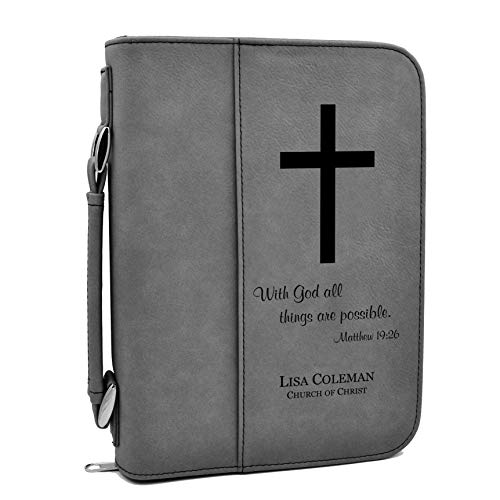 with God All Things are Possible | Holy Bible Cover with Cross | Personalized (Gray)