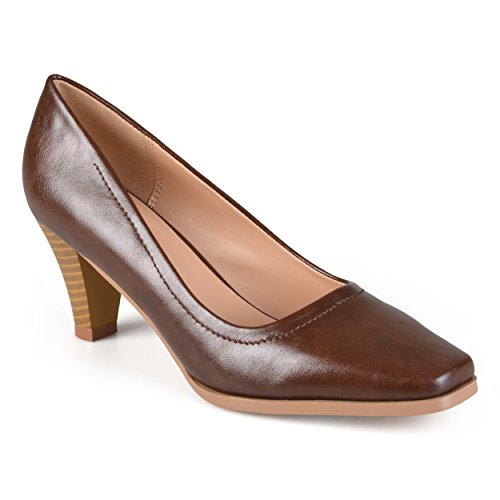 Journee Collection Womens Classic Stacked Heel Pumps Brown, 8 Regular US