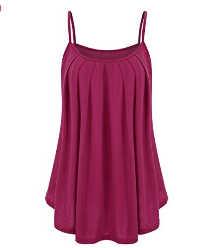 SunAislin Womens Loose Plus Size Pleated Camisole Tank Red ()