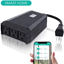 Wifi Outdoor Smart Plug/Outlet Switch 3 Sockets/Wireless Remote Control/That work with Google Home,Echo,Alexa/Waterproof/Light/Pool Timer by Phone/Mini Enabled Receptacle Smart Life Qioase