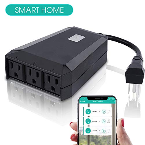 Outdoor Smart/Wifi Plug/Outlet Compatible with Alexa/Google Home,Echo Switch 3 Sockets/Wireless Remote Control Waterproof/Light/Pool Timer by Phone Receptacle Smart Life Qioase
