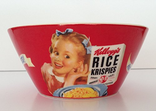 (Kellogg's Vintage Reproduction Girl on Red Ceramic Cereal Bowl, Rice Krispies )