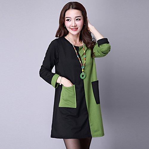 Donne Manica Veste Ginocchio Amazingdeal Verde Inverno Nero Patchwork Girocollo Il Lunga Vestito Sciolto Sopra rSwTBrUx
