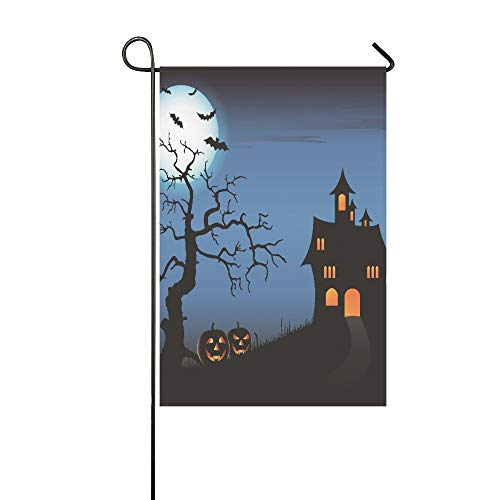 WIEDLKL Home Decorative Outdoor Double Sided Halloween Pimpkin Castle Full Moon Bat Dead Tree Garden Flag,House Yard Flag,Garden Yard Decorations,Seasonal Welcome Outdoor Flag 12 X 18 Inch -