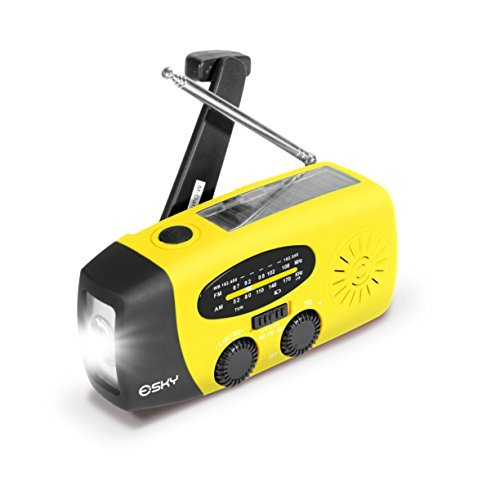 Esky Solar Hand Crank Self Powered Hand Radio with LED Flashlight and 1000mAh Power Bank Smart Phone Charger (USB) Power Bank with Cables- for Travel, Camping or Emergency - Color Yellow
