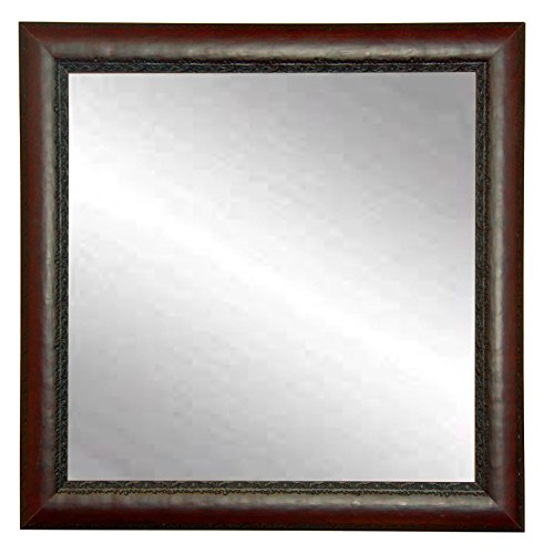 BrandtWorks BM019SQ Carved Mahogany Square Wall Mirror, Red/Brown (With Frame Red Mirror)