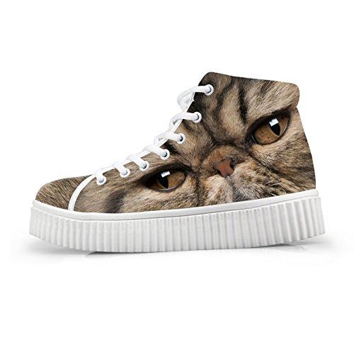 HUGSIDEA Platform Face Fashion Cat Cat Top Sneakers Face Print High 83 Shoes Women BSBxzf
