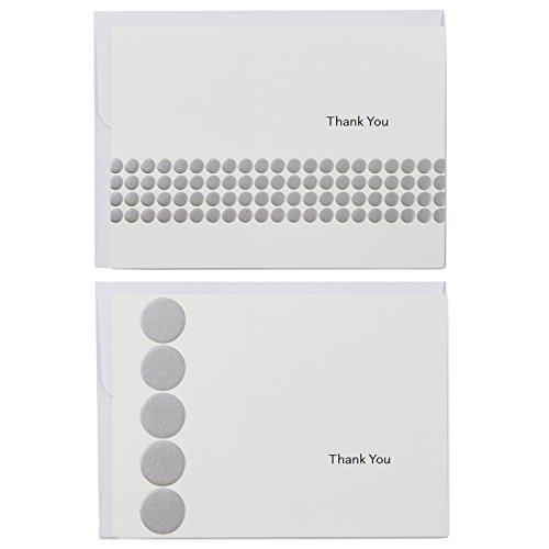 Hallmark Boxed Thank You Card Assortment, Silver Dot (Two Designs, 40 Cards and Envelopes)