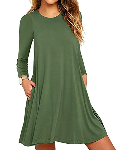 Amstt Womens Manches Longues Poches Tunique Swing Lâches Occasionnels Robes T-shirt Vert