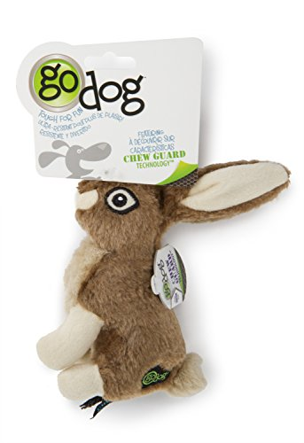 (goDog Wildlife Rabbit with Chew Guard Tough Plush Dog Toy,)