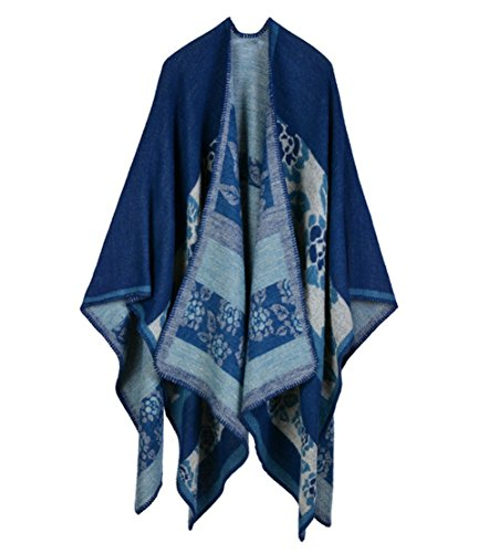 Engood Women's Winter Knit Open Floral Printed Cloak Coat Shawl Pashmina Poncho Cape Cardigan Sweater Coat Flowers Navy
