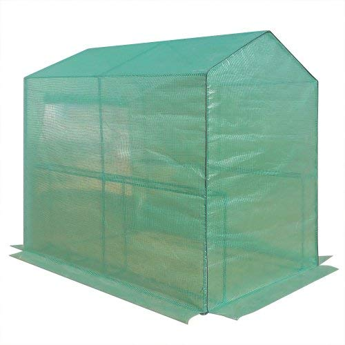 Caseta para tomates con puerta de entrada con cremallera y estanterías. Medidas: 186 x 120 x 190 cm: Amazon.es: Jardín