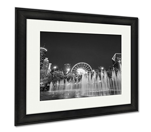 Ashley Framed Prints Centennial Olympic Park In Atlanta During Blue Hour After Sunset, Office/Home/Kitchen Decor, Black/White, 30x35 (frame size), Black Frame, - Plaza Downtown Hours
