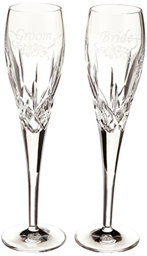 Galway Standard Engraved Flute Bride / Groom  Pair by Galway Crystal