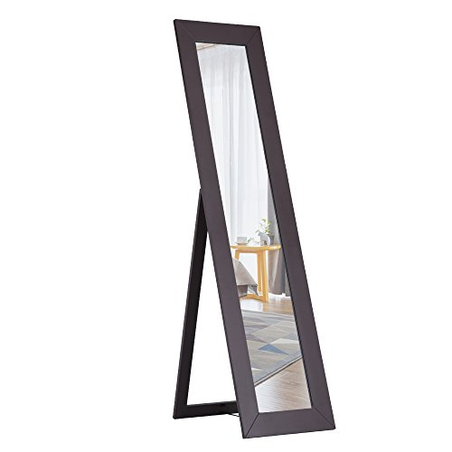 Cloud Mountain Dressing Mirror Wooden Style MDF Material Rectangular Cheval Full Length Mirror Bedroom Floor Mirror Adjustable Tilt Furniture, Espresso