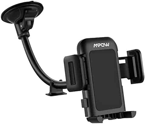Mpow Car Phone Mount Windshield Car Phone Holder with Upgrated Suction Cup and Extra Dashboard Base Long Arm Car Cradle Compatible with iPhone Xs MAX/XS/XR/X/8/7/7P, Galaxy S10/S9/S8, Moto, Nokia, LG