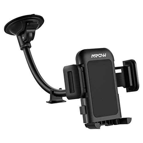 Mpow Car Phone Mount Windshield Car Phone Holder with Upgrated Suction Cup and Extra Dashboard Base Long Arm Car Cradle Compatible with iPhone Xs MAX,XS,XR,X,8,7,7P, Galaxy S10/S9/S8, Moto, Nokia, LG