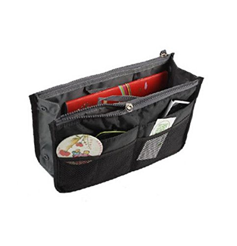 Liroyal Black Handbag Pouch Bag in Bag Organiser Insert Organizer Tidy Travel Cosmetic Pocket Makeup Bag