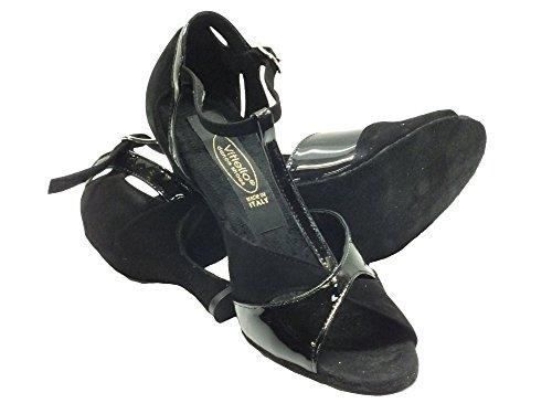 para baile Vitiello 326 mujer baile Camoscio Zapatos vernice Nero de nero 324 e vernice 70 forma nero camoscio de Zapatos negro q6fr6wt
