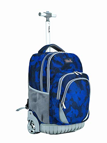 Wheels Patch - Tilami Anti-wear Compressive Roller Book Bag Luggage Backpack with Wheels Oversized Load 18 Inch for Laptop (Colorful Patches)