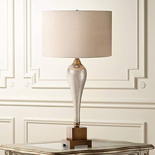 Gigi Table Lamp Mercury Glass Bronze Metal Beige Drum Shade for Living Room Family Bedroom Bedside Office ()