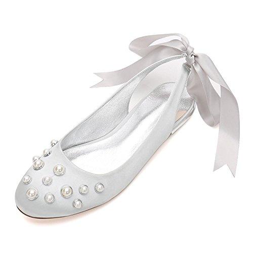 de YC 24 encaje de con Zapatos de Zapatos punta 5049 Pearl Apliques Cinta boda mujer de plata de Heels almendra Bombas para L boda Bxfdqw4dn