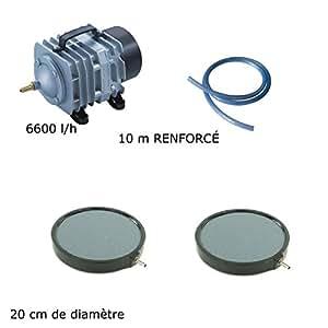 Aqua Occaz Juego de ventilación estanque de jardín 6600L/H 2placas 20cm–12000de 15000L