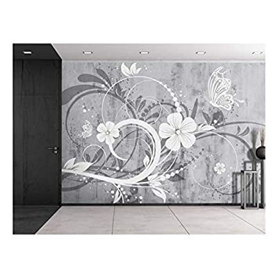 Spiral Floral Graphic on a Grayscale Grungy Texture with a Vignette Effect Around It Wall Mural Removable Vinyl Wallpaper, Quality Artwork, Wonderful Artistry