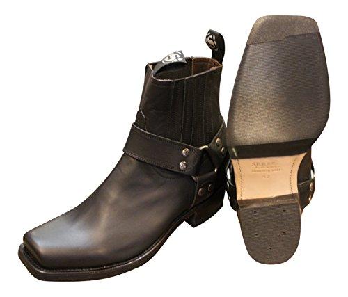 Sendra Cowboystiefel Bikerstiefel Stiefellette 8286 in schwarz incl. Roy Dunn´s Lederfett und Stiefelknecht
