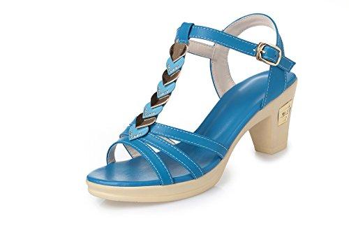 alto Sandalias mujeres sandalias tacón las Blue de Peacock diamante de las del dulce de Side verano 1rEqr