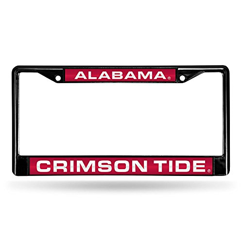 Alabama Tide Cut Laser Crimson - Rico Industries NCAA Alabama Crimson Tide Laser Cut Inlaid Standard Chrome License Plate Frame, 6