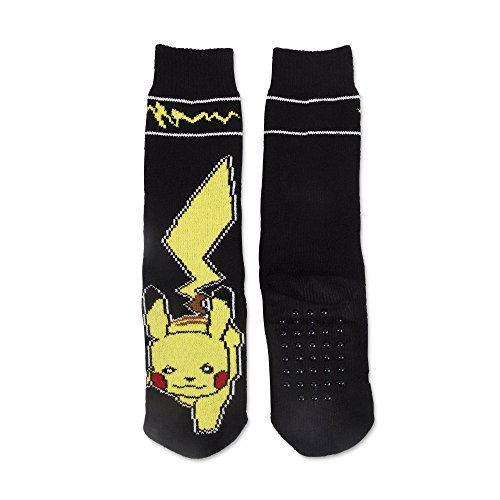 Pokemon Pikachu Boys' Slipper Socks Fit Shoe Size 7.5-3.5 Black (For Boys Pokemon Shoes)