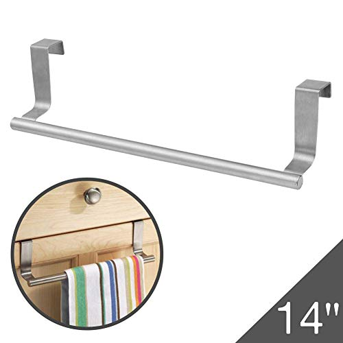 Over Cabinet Towel Bar with Hooks, 14 Brushed Stainless Steel Towel Rack for Bathroom and Kitchen with 22 Lbs Maximum Load