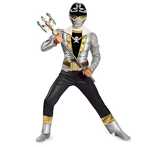 Disguise Saban Super MegaForce Power Rangers Special Ranger Silver Classic Muscle Boys Costume, (Saban Super Megaforce Power Rangers Muscle Costume)