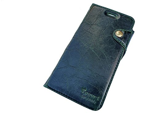 Yogurt for iPhone 7 Handmade Genuine Leather Wallet Case Cover Green