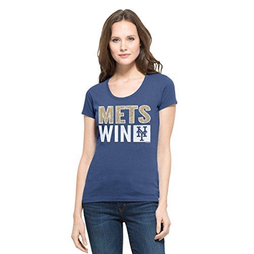 ('47 MLB New York Mets Women's Sparkle Scoop Neck Tee, Large, Bleacher Blue )