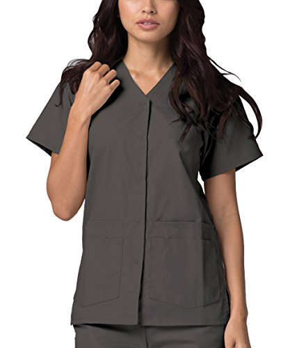 Adar Universal Double Pocket Snap Front Top (Available in 39 Colors) - 604 - Pewter - XL