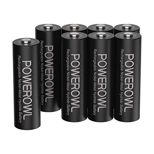 Pilas AA Recargable POWEROWL Alta Capacidad 2800mAh 1.2V Pilas Recargables AA NI-MH Diámetro 14.4mm Baja Autodescarga (Precarga 8 Paquete, Recargable Aproximadamente 1200 Veces)