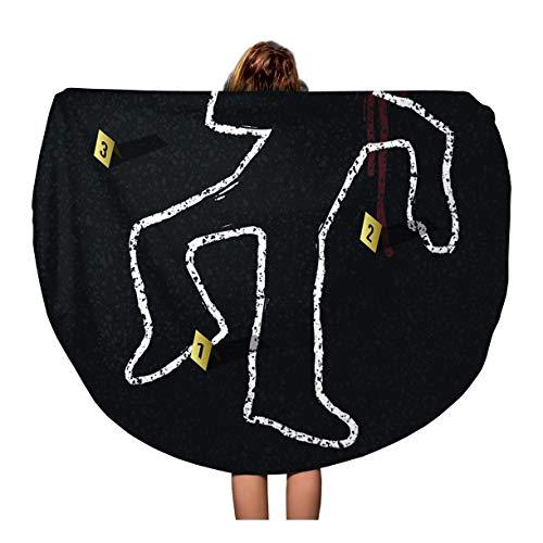 Semtomn 60 Inches Round Beach Towel Blanket Yellow Outline Crime Scene Body Chalk Dead Murder Man Travel Circle Circular Towels Mat Tapestry Beach Throw