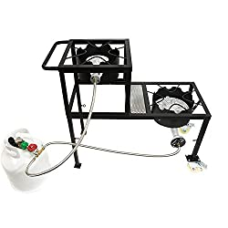 Gas One Propane Burner Two Step Tier 300 000 Btu High Pressure Propane Double Burner On Wheels Handle And Csa Listed High Pressure Regulator And Hose For Brewing Griddles